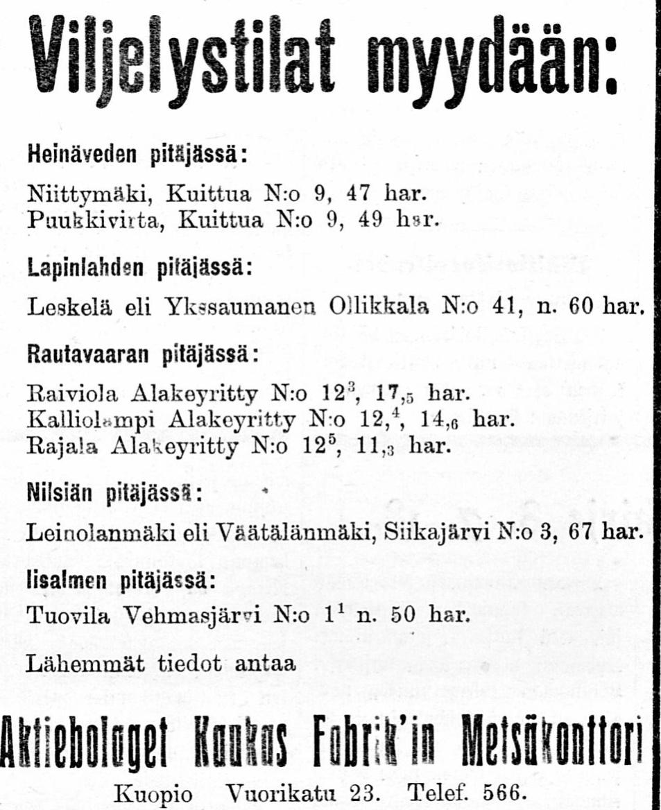 Viljelystilat myydään, 11 07 1918 Savon Sanomat no 74